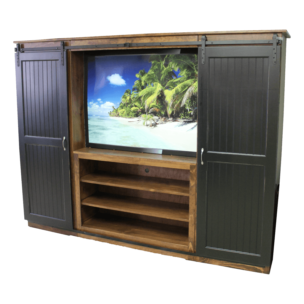 Barn Door Bookcase Entertainment Unit