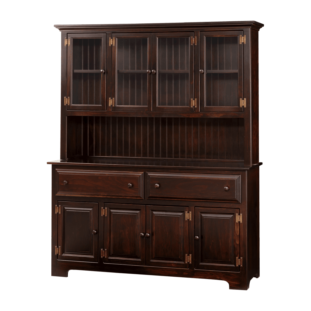 4-Door Hutch w Wood & Glass Doors