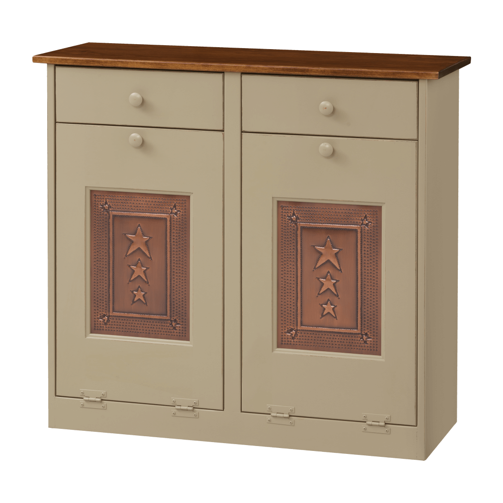 Double Trash Bin Cabinet w Tin