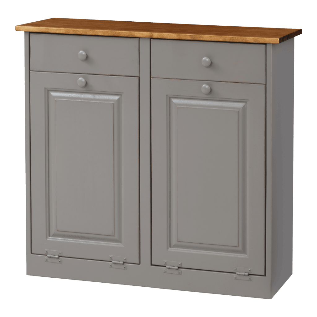 Double Trash Bin Cabinet w Wood