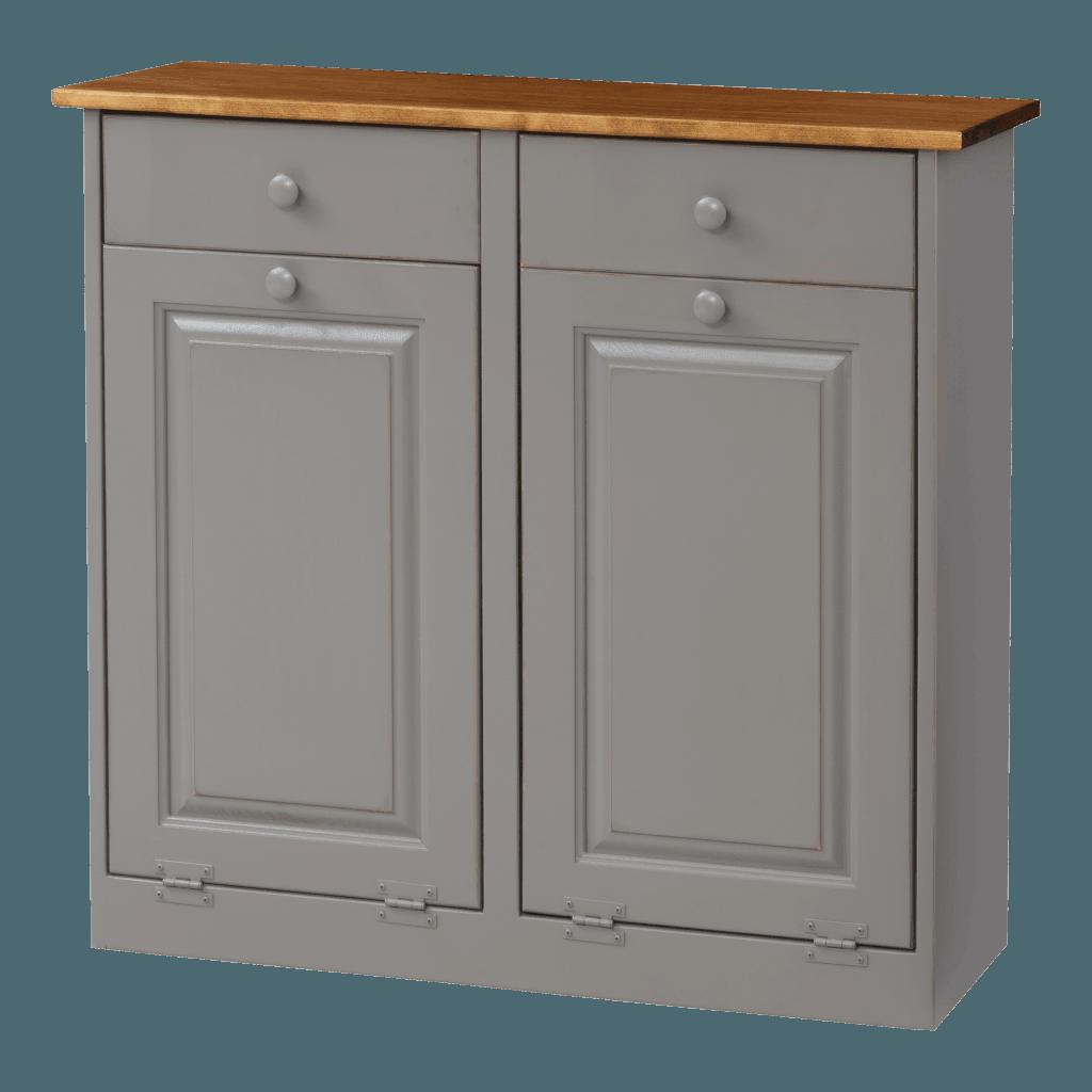Double Trash Bin Cabinet w Wood