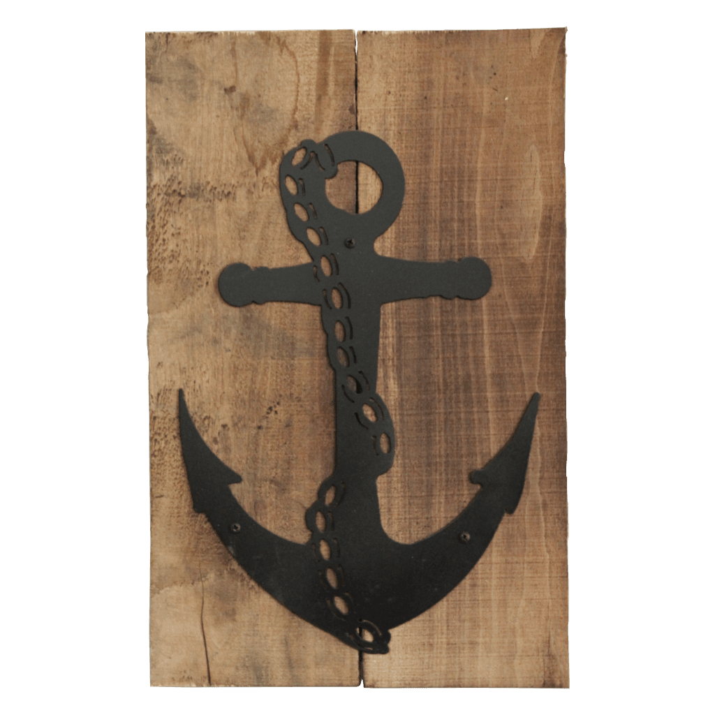 Pallet Wood Frame w Metal Silhouette Art