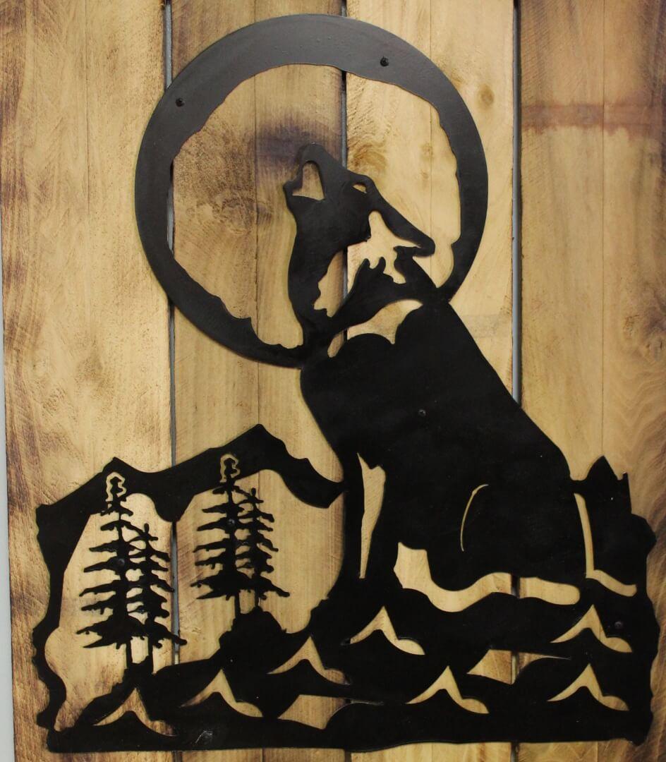custom wolf metal silhouette